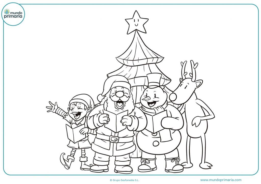 Imagen de unos amigos y un árbol de navidad para colorear