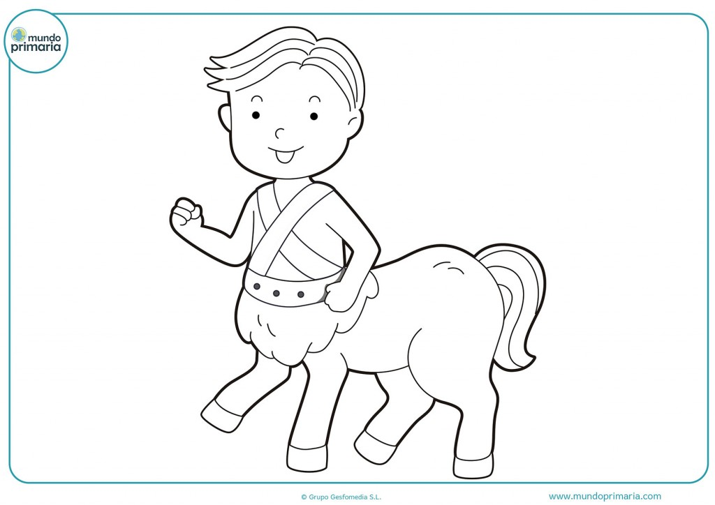 Colorea el niño centauro con tus colores favoritos