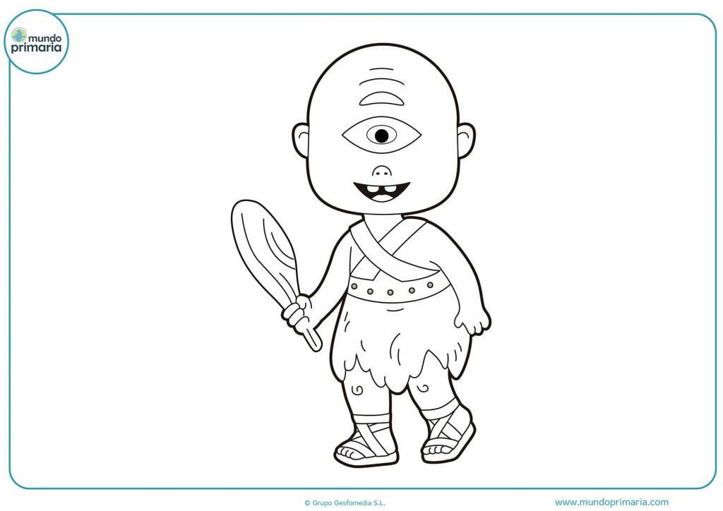 Dibujo de un niño ciclope con un mazo