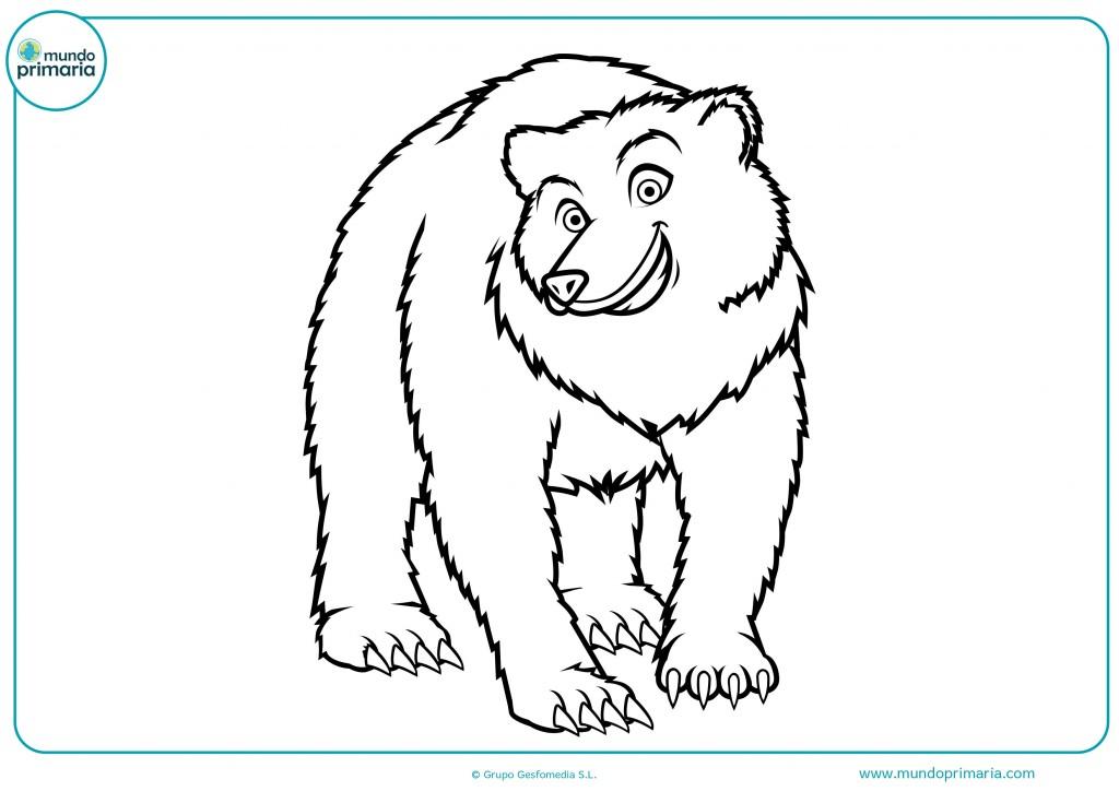 Descarga y colorea este gran oso de frente con ceras blancas y grises