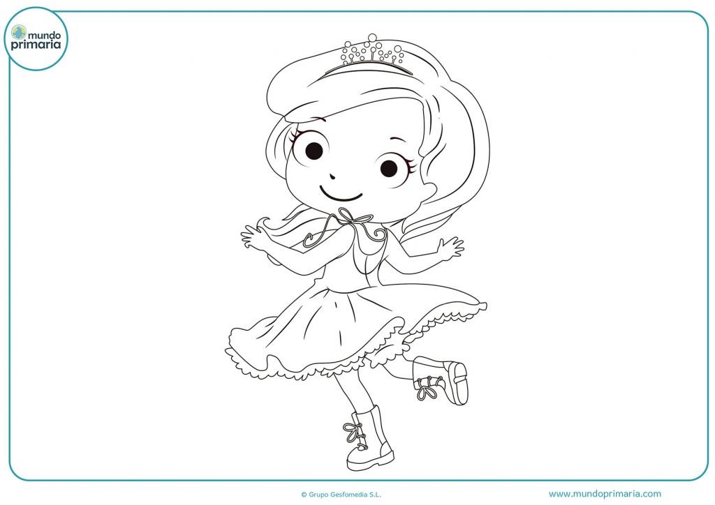 Dibujo de una princesa bailando para colorear