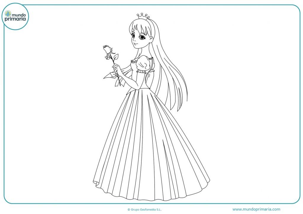 Colorea la princesa con una rosa y una falda larga