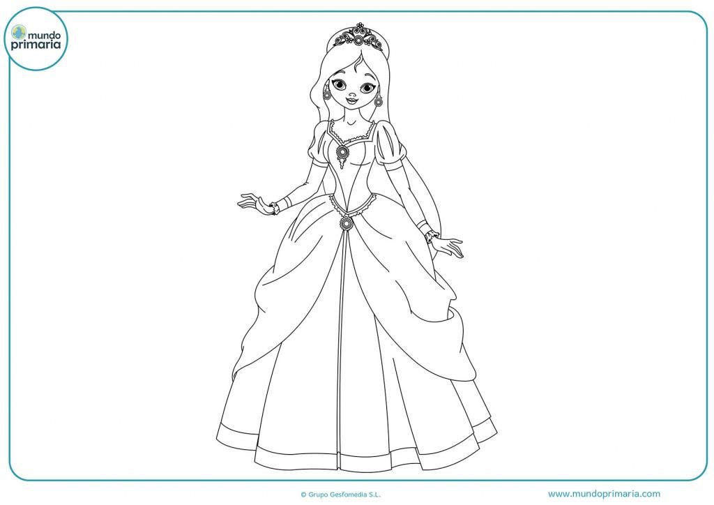 Imagen de una hermosa princesa para colorear