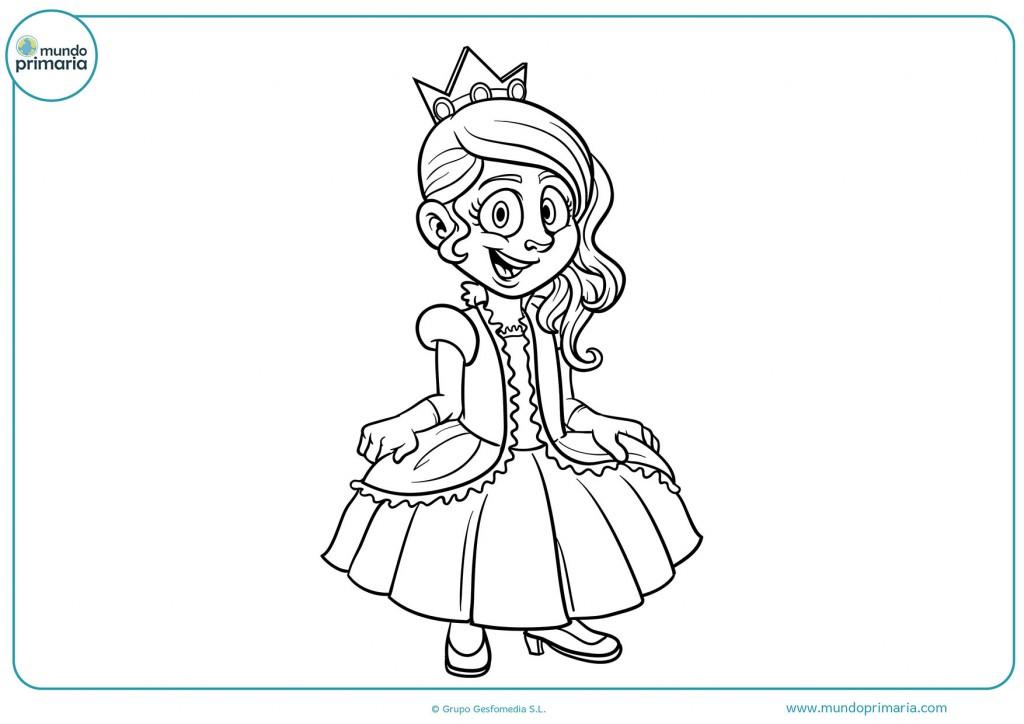 Dibujo de una princesa con su lindo vestido para pintar