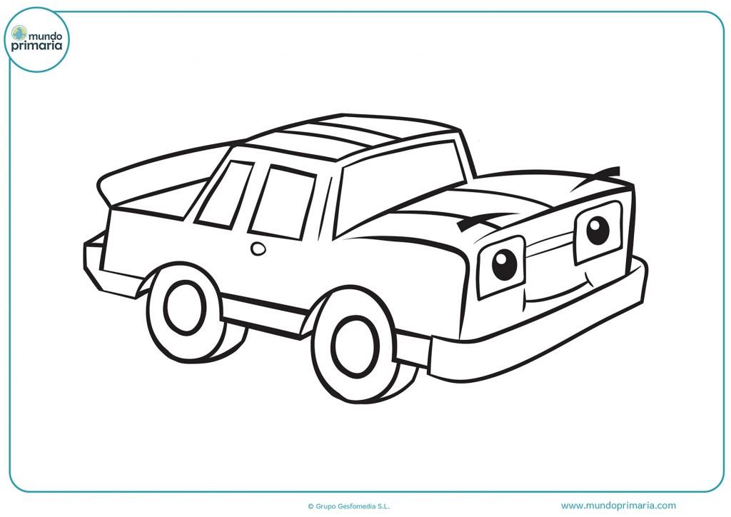 Dibujo para colorear un coche con remolque