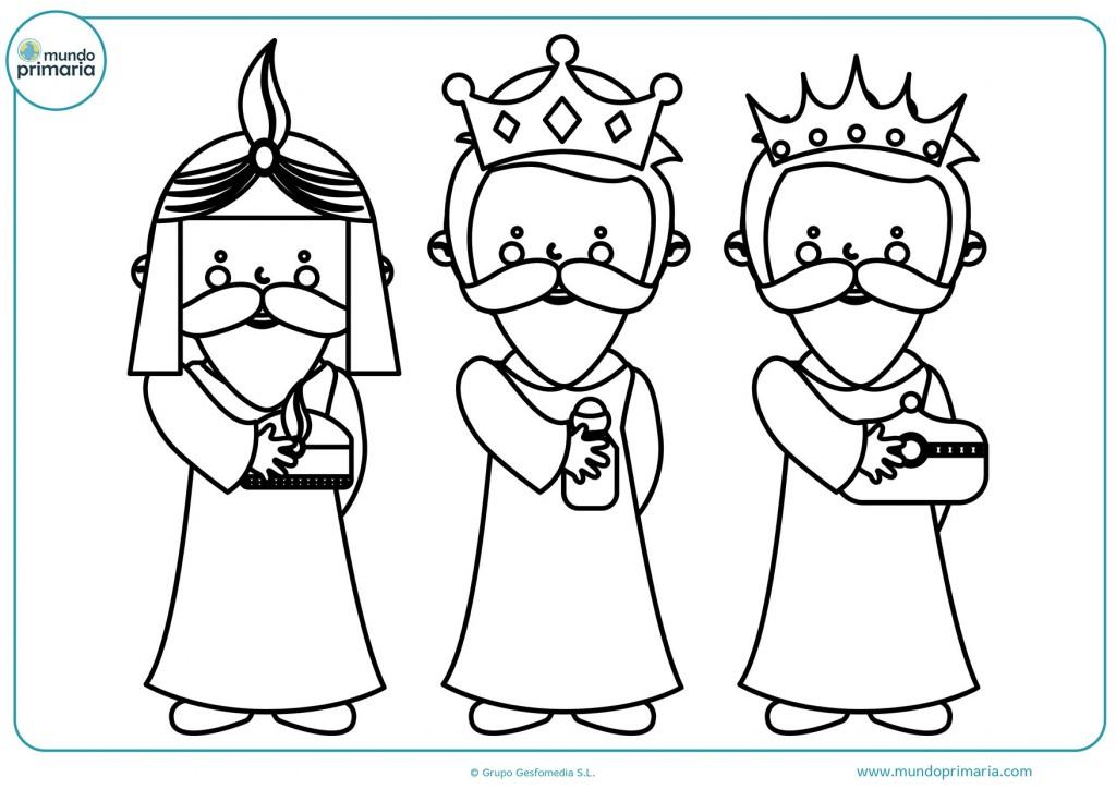 Colorea los tres Reyes Magos para terminar el dibujo