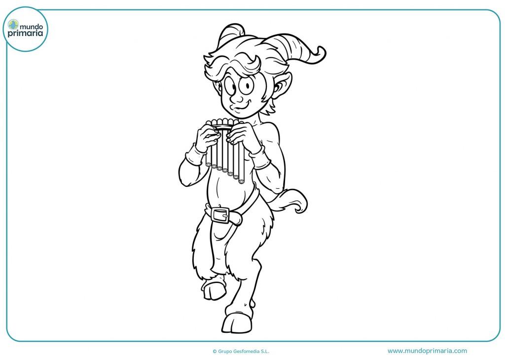 Dibujo de un sátiro con su instrumento musical