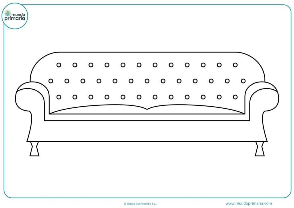 Dibujo de un sofá antiguo para colorear