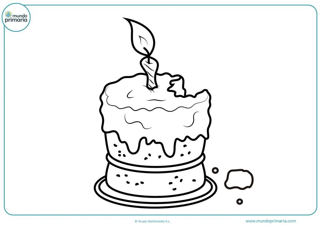 Colorea el dibujo de la tarta mordida con una vela