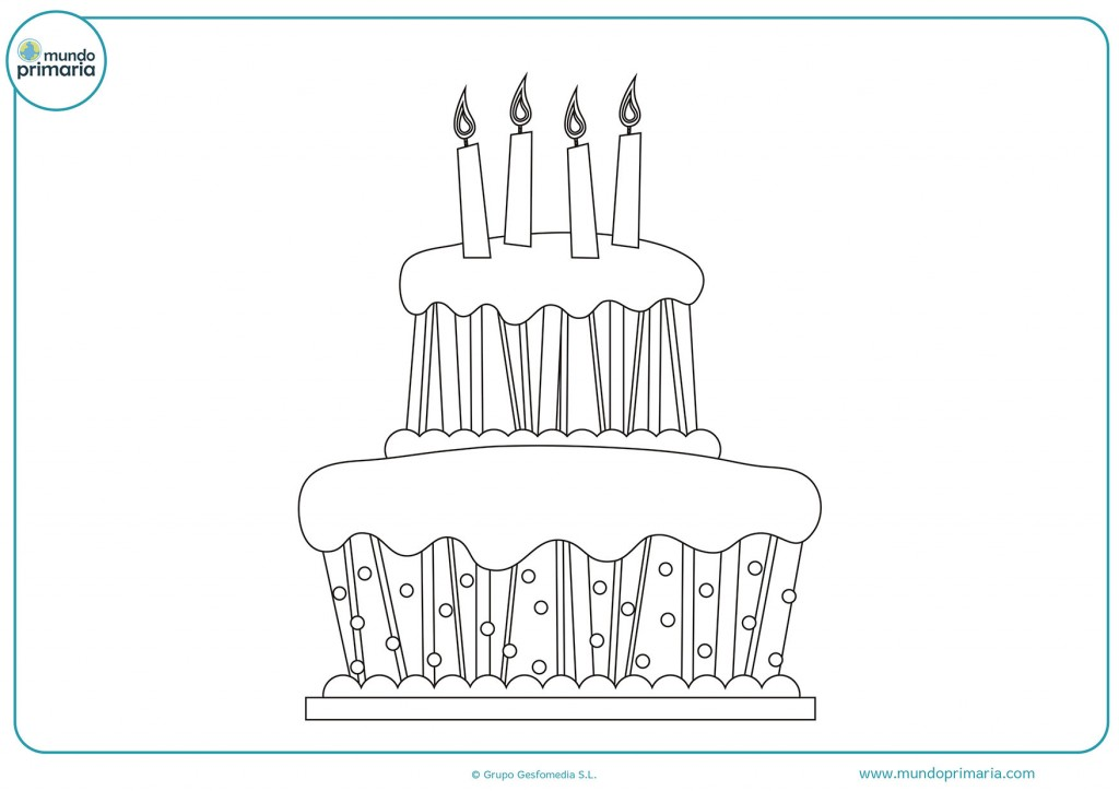 Tarta gigante con cuatro velas para colorear
