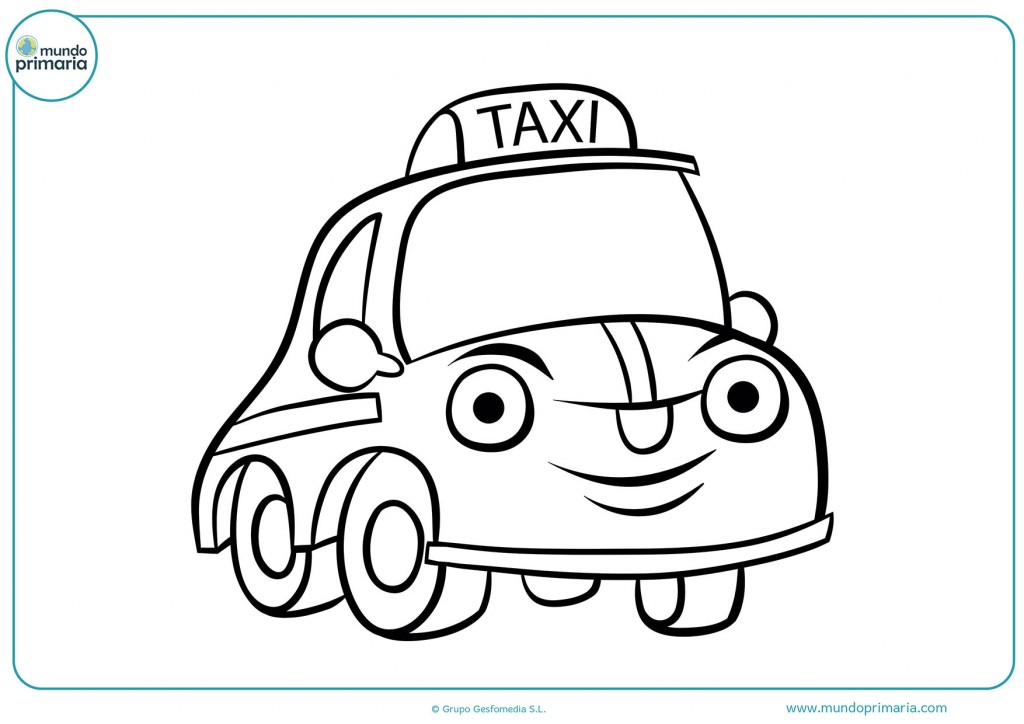 Dibujo de un taxi con cara para colorear