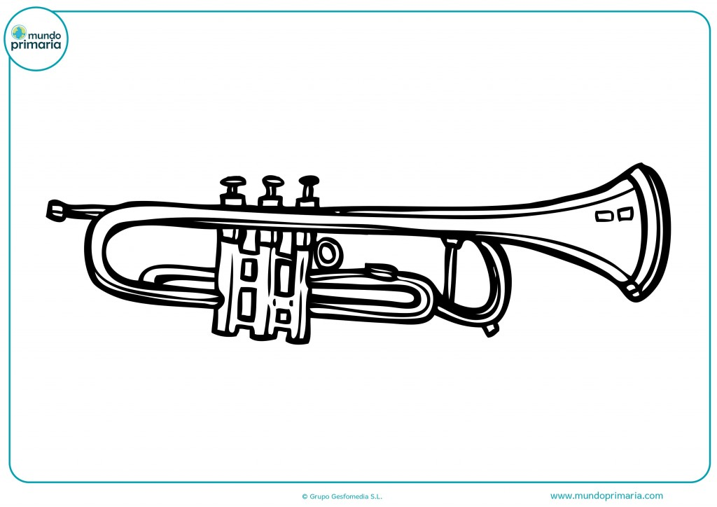 Descarga esta bonita trompeta y coloréala