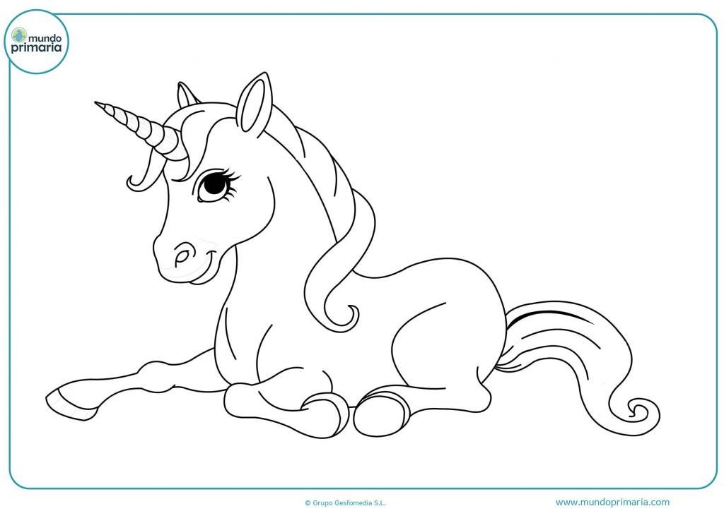 Dibujo de un unicornio de ojos negros para colorear