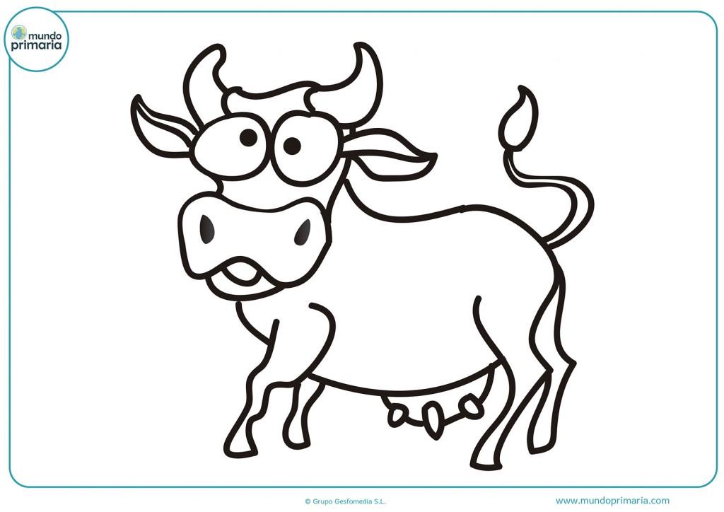 Imagen de una vaca confundida para colorear