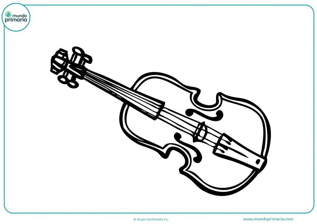 Colorea este violín clásico en colores madera