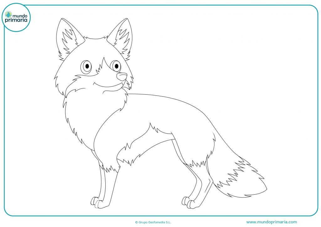 Descarga y colorea este dibujo de un zorro perfil