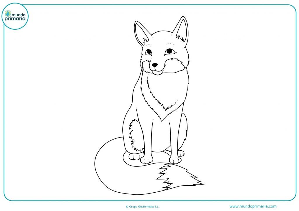 Colorea el dibujo de este zorro sentado y feliz