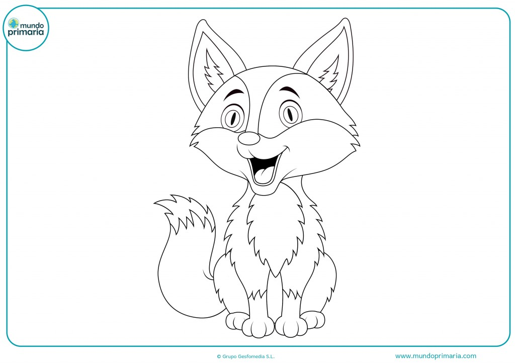 Descarga y colorea este dibujo de un zorro que sonrie