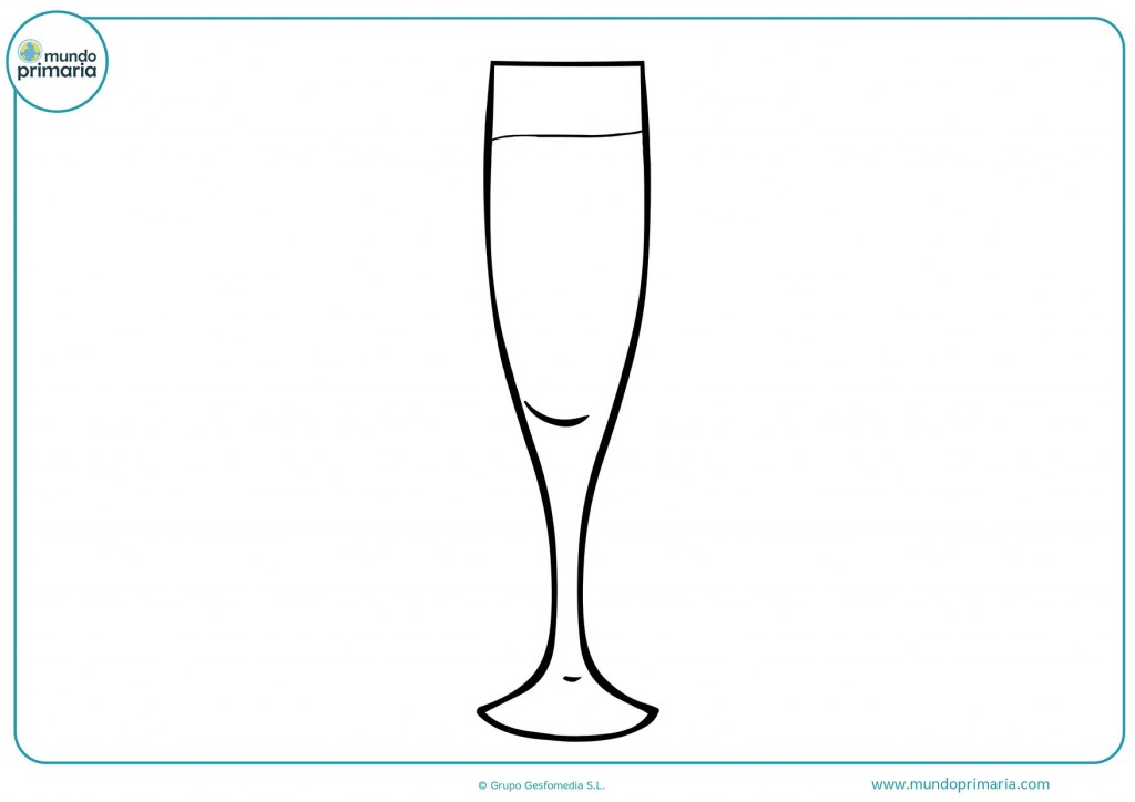 Observa esta copa de champán y coloréala