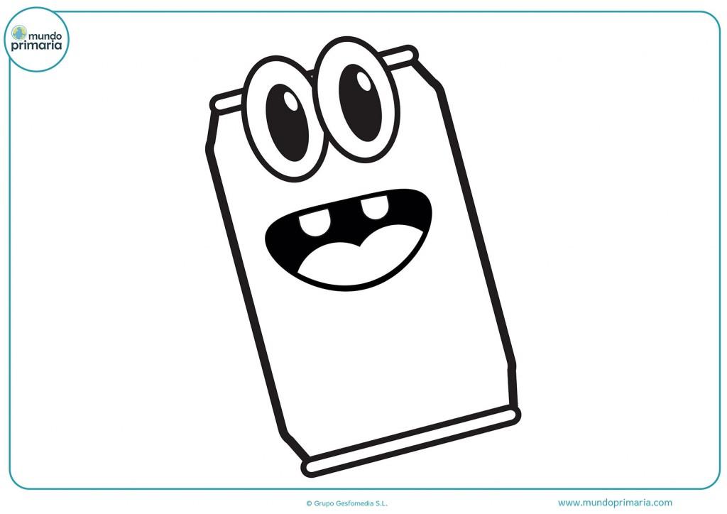 Dibujo de una lata con ojos y boca para colorear