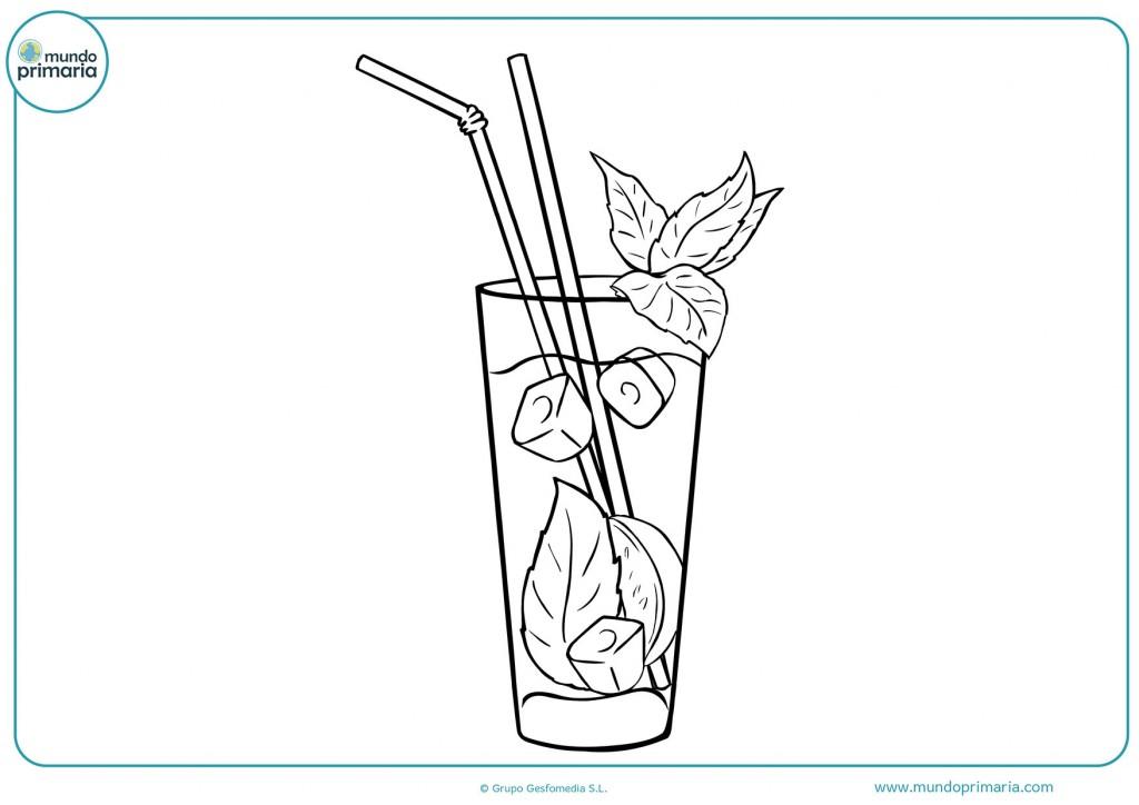 Dibujo de un refresco con hielo para pintar