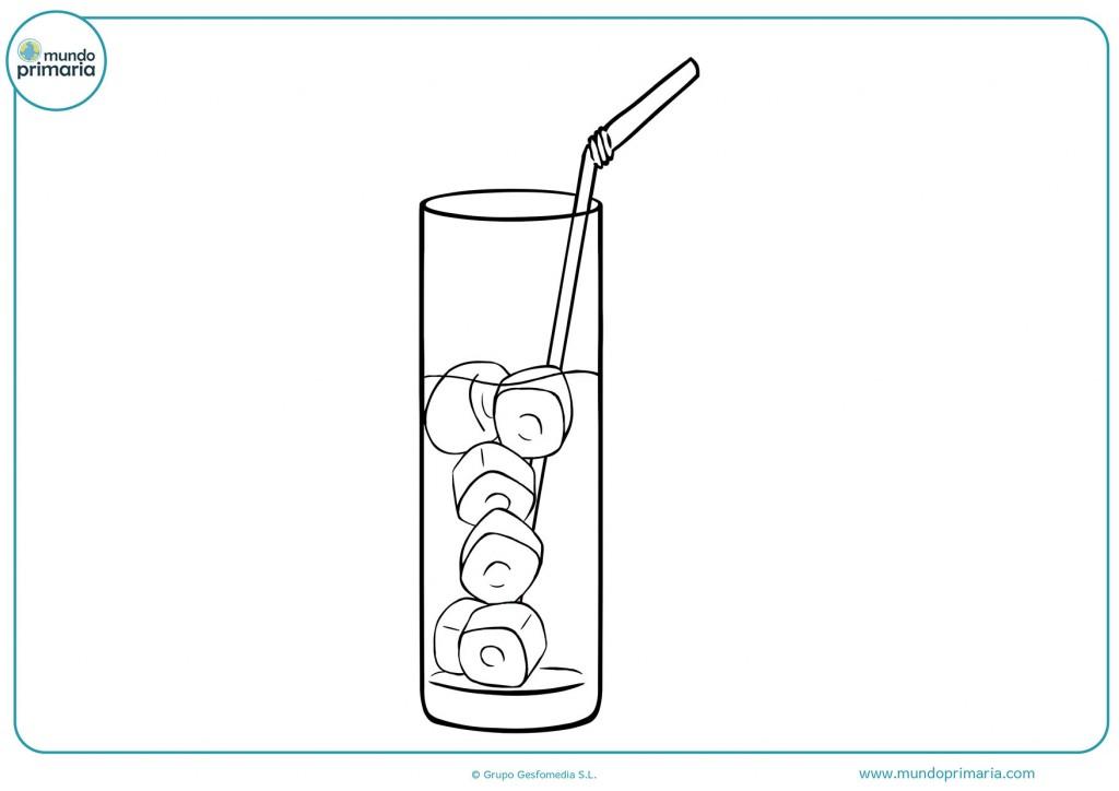 Descarga y pinta el refresco con una pajita y hielo