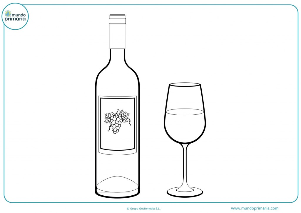 Colorea el vino de uva con su copa para terminar el dibujo