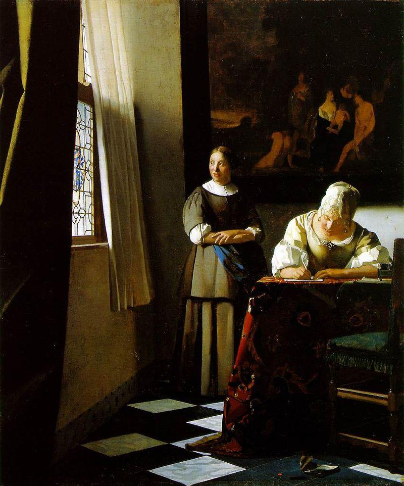 Dama escribiendo una carta con su sirvienta - Vermeer - La joven de la perla