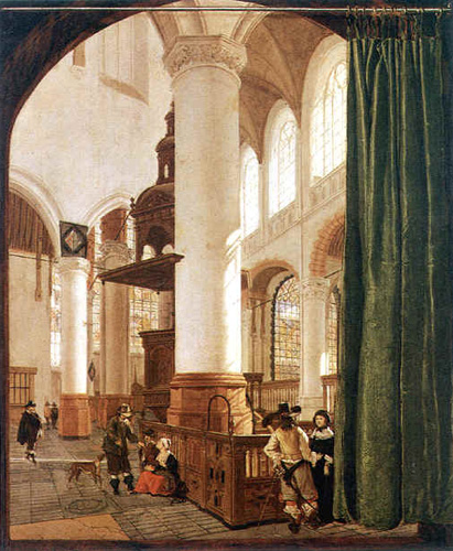 Gerard Houckgeest -Interior de la Oude Kerk de Delft (1650) - La joven de la perla