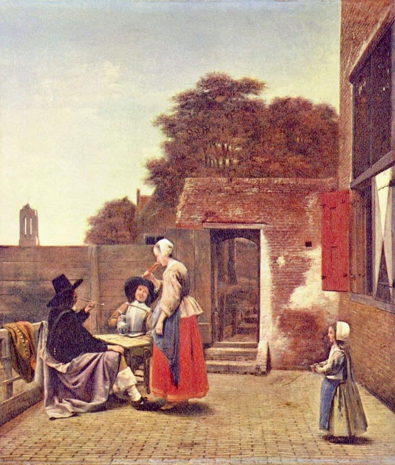 Un patio holandés - Pieter de Hooch - La joven de la perla
