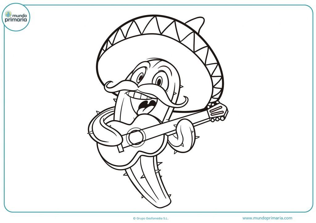 Dibujo coloreable de un cactus en forma de mariachi