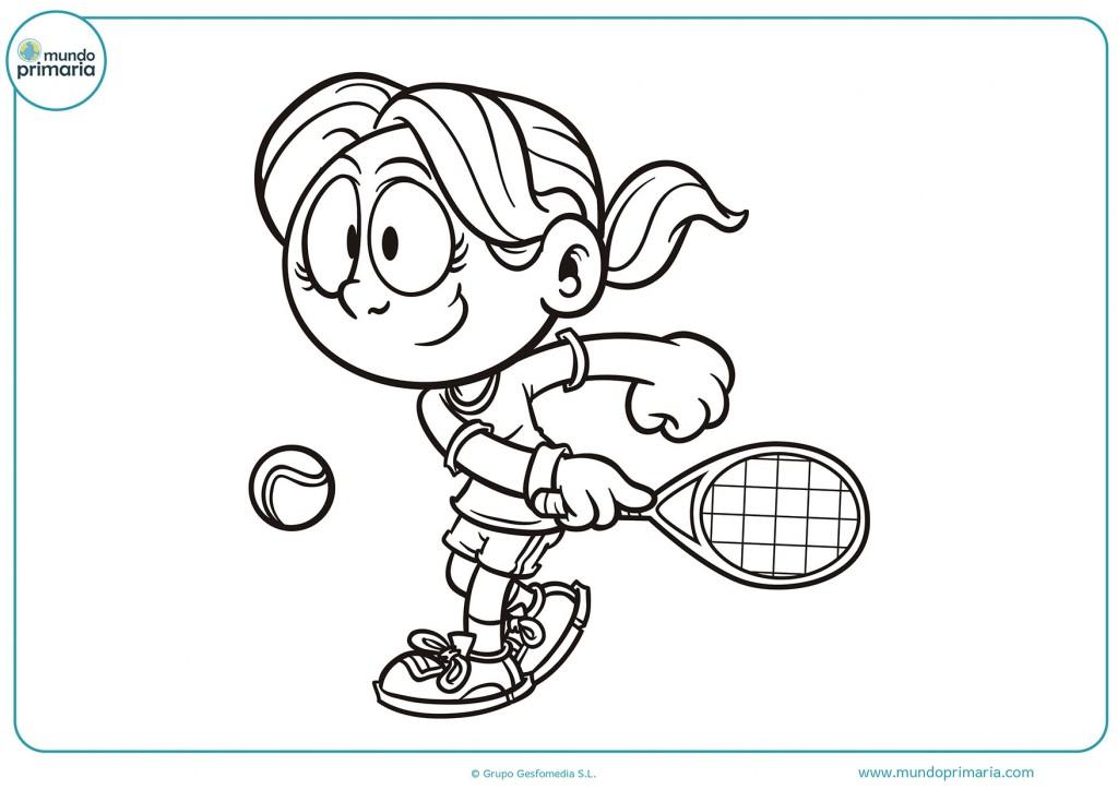 Colorea el dibujo de una chica jugando tenis