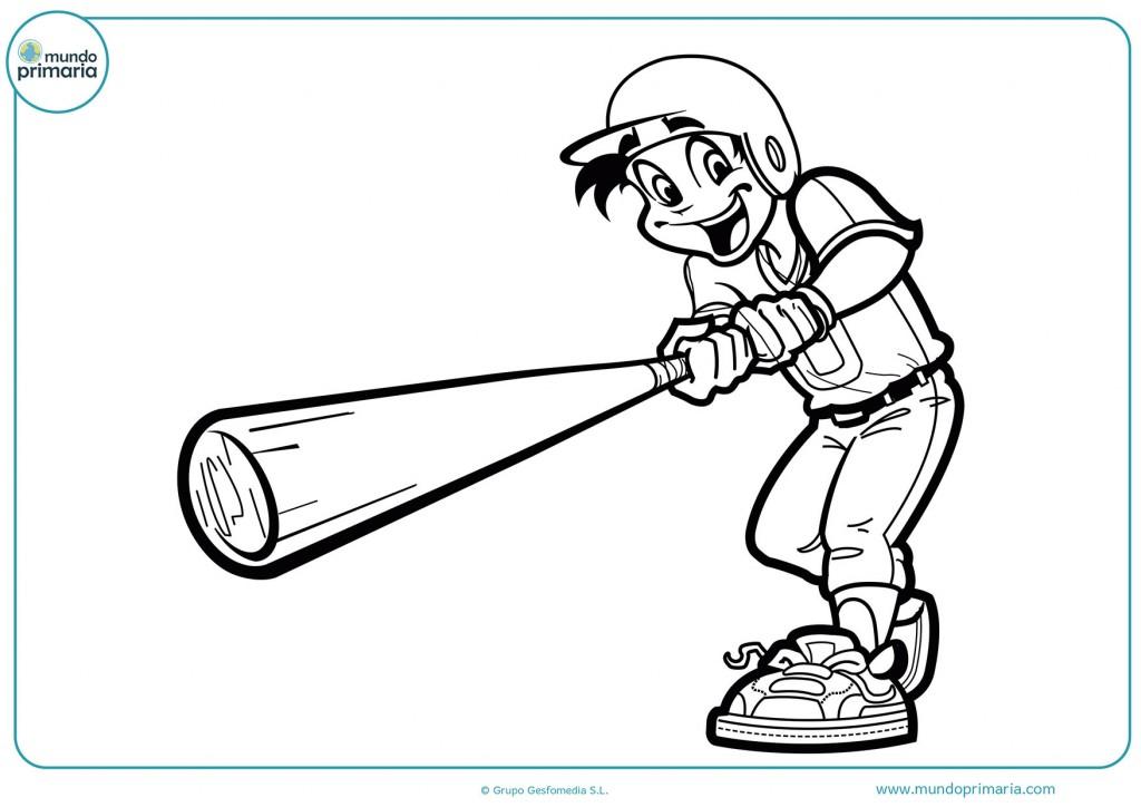 Colorea el bate y la gorra del jugador de béisbol