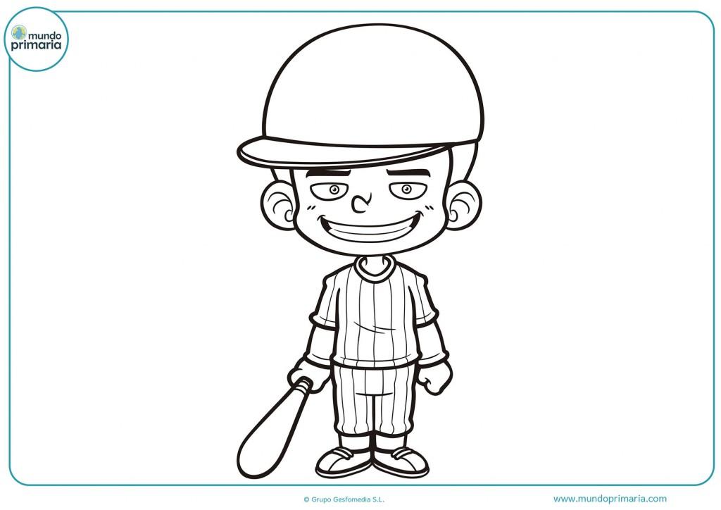 Dibujo coloreáble de un chico con gorra y un bate para colorear