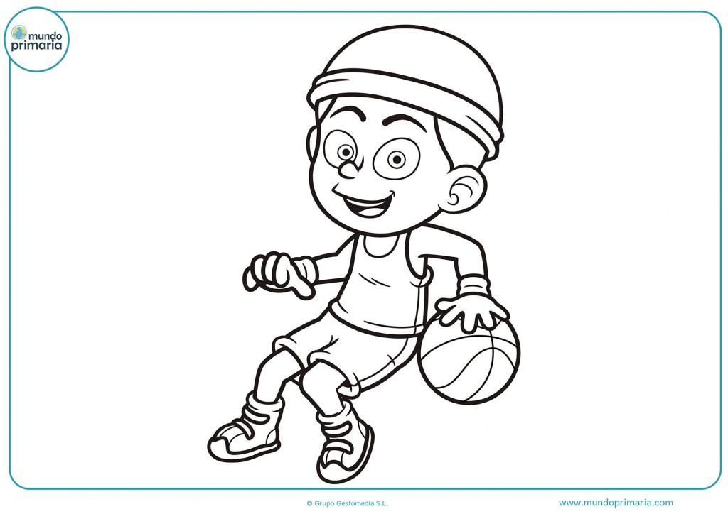 Niño jugando baloncesto para pintar con colores