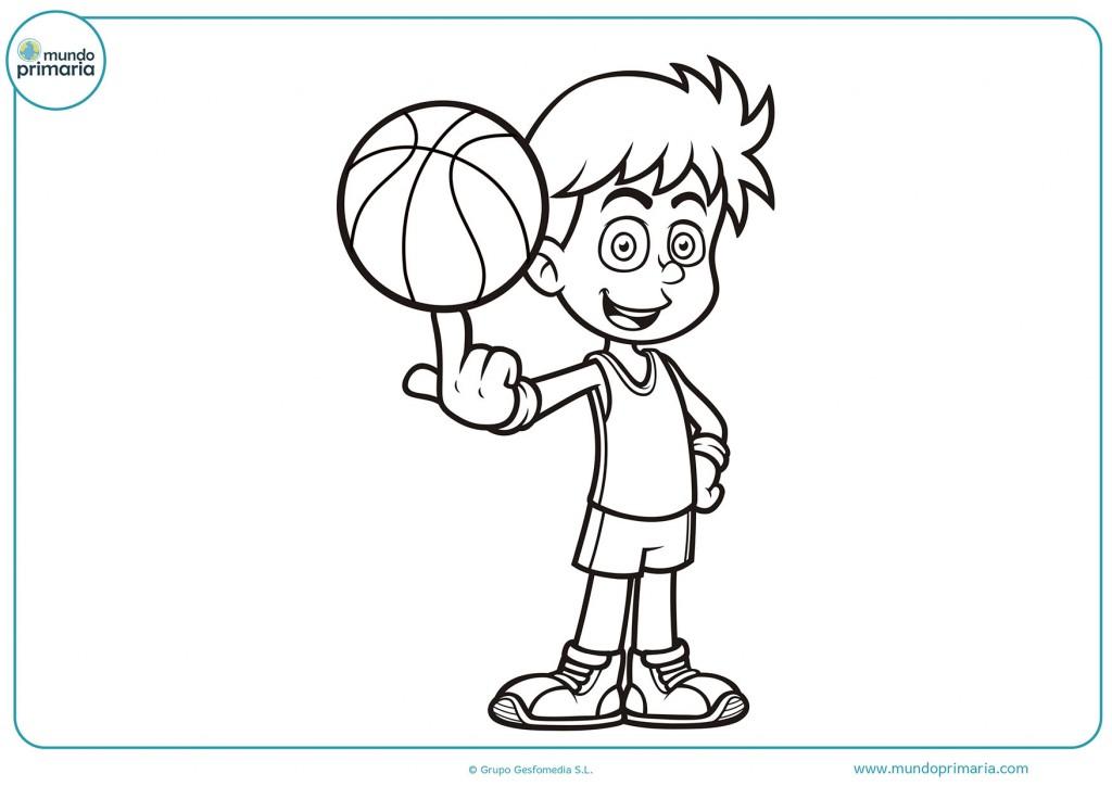 Chico haciendo una jugada con el balón de baloncesto