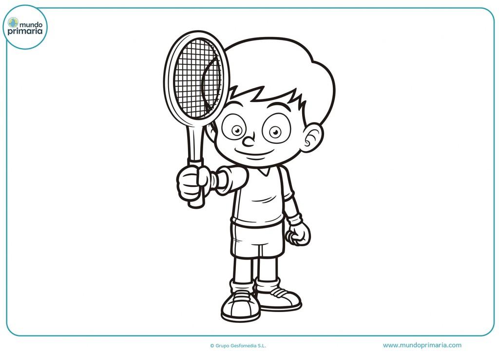 Dibujo de un chico mostrando su raqueta