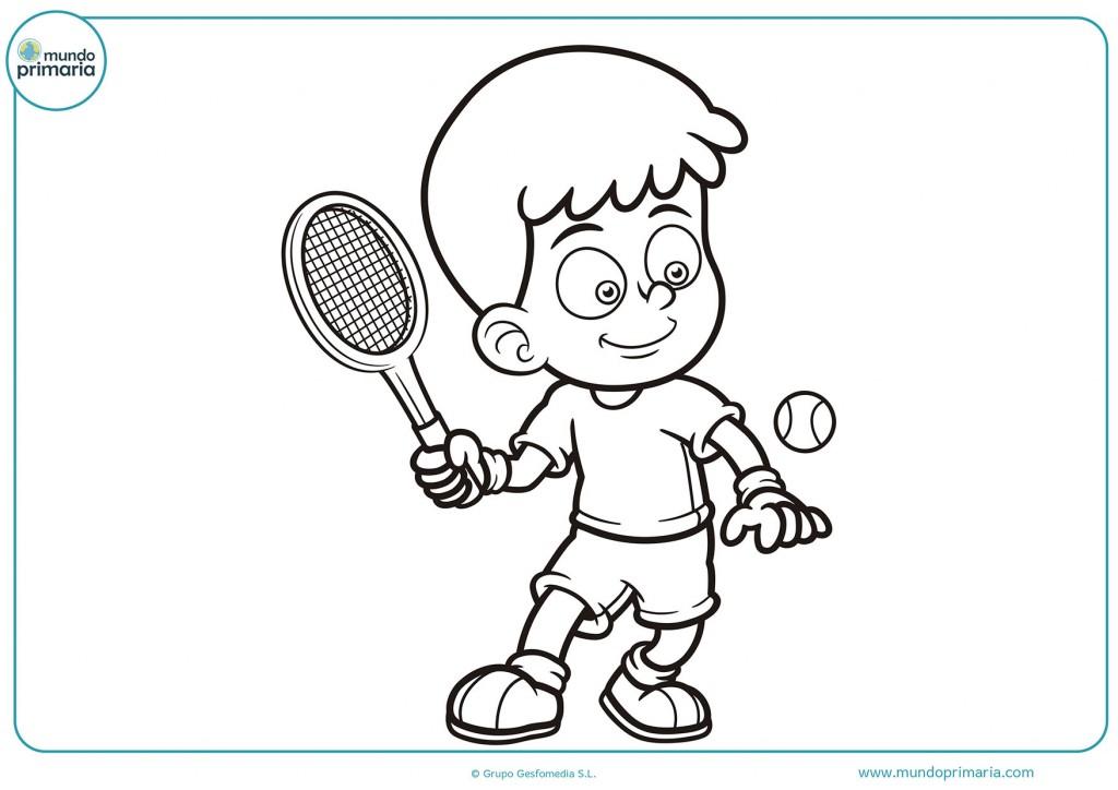 Colorea la raqueta y la bola de tenis para completar el dibujo