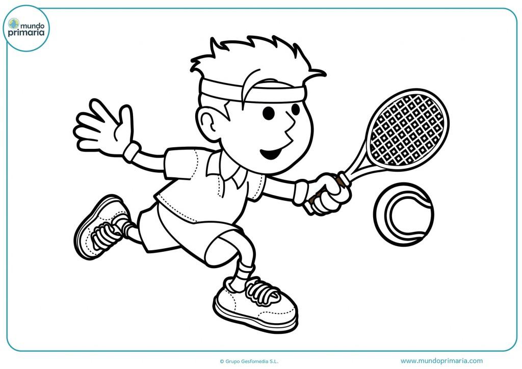 Dibujo de un chico tenista para pintar con colores