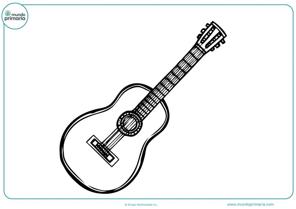 Imagen de una guitarra clásica para colorear