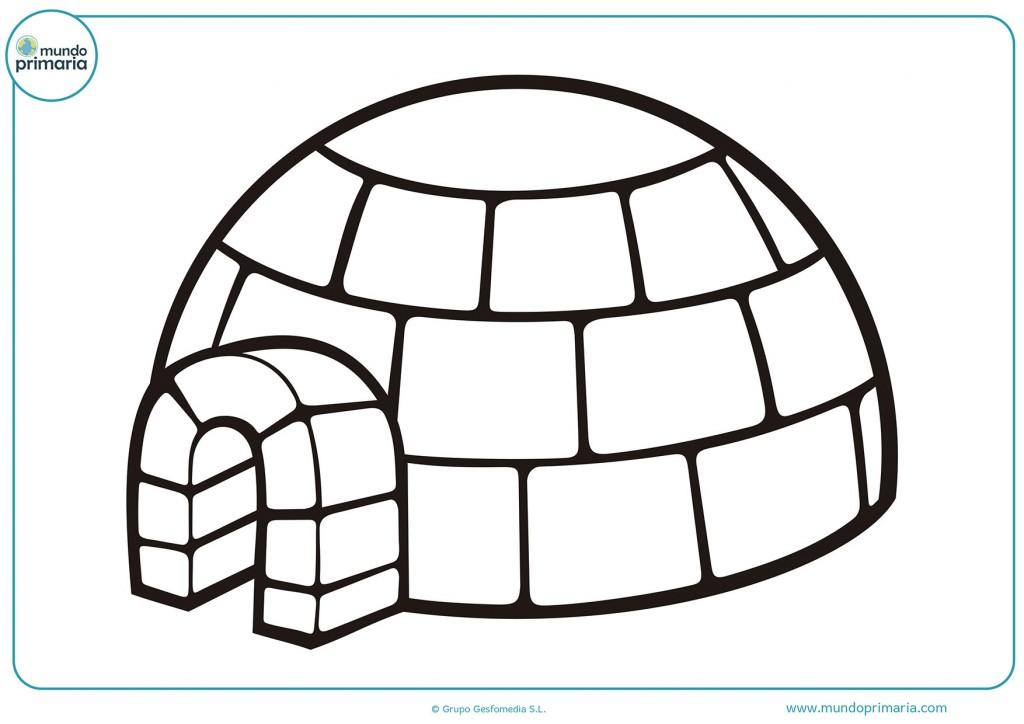 Dibujo de un grandioso iglú para niños