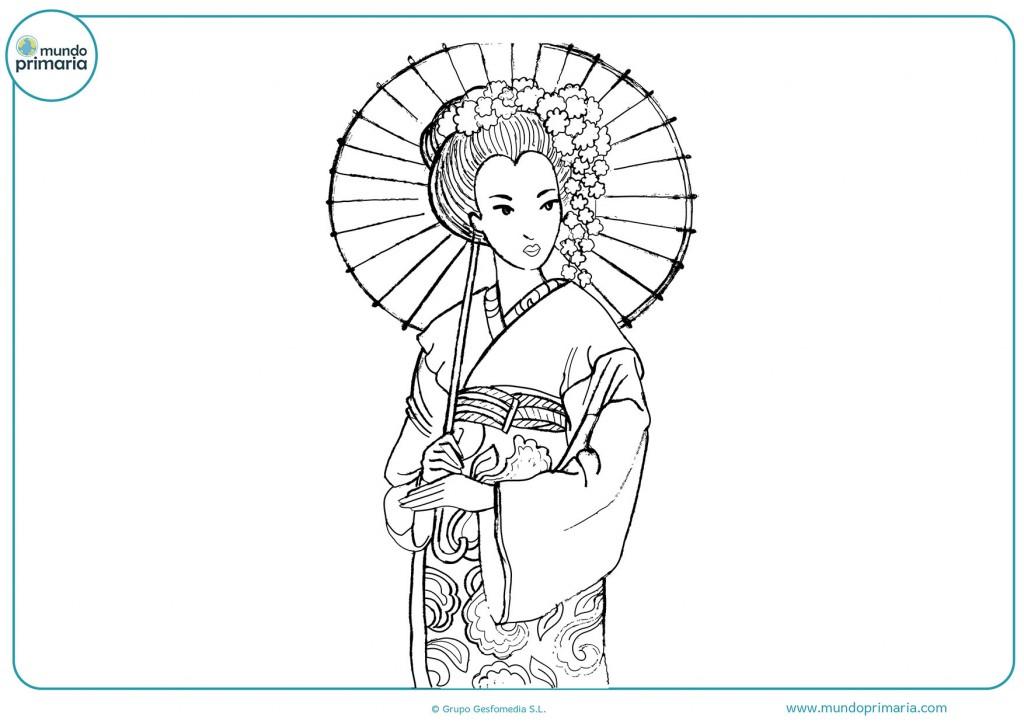 Dibujo de una mujer japonesa con una sombrilla