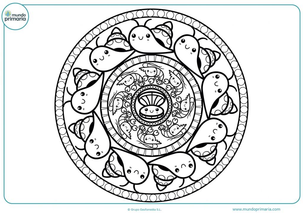 Mandala de caracoles para pintar
