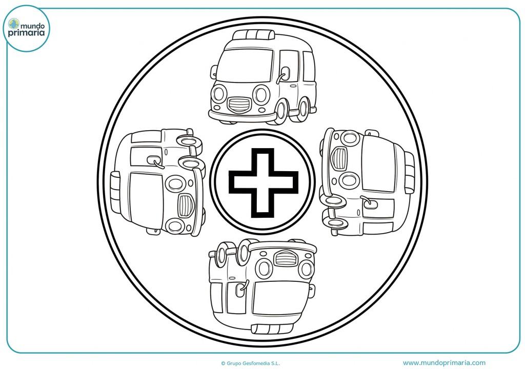 Dibujo de una mandala de coches para colorear