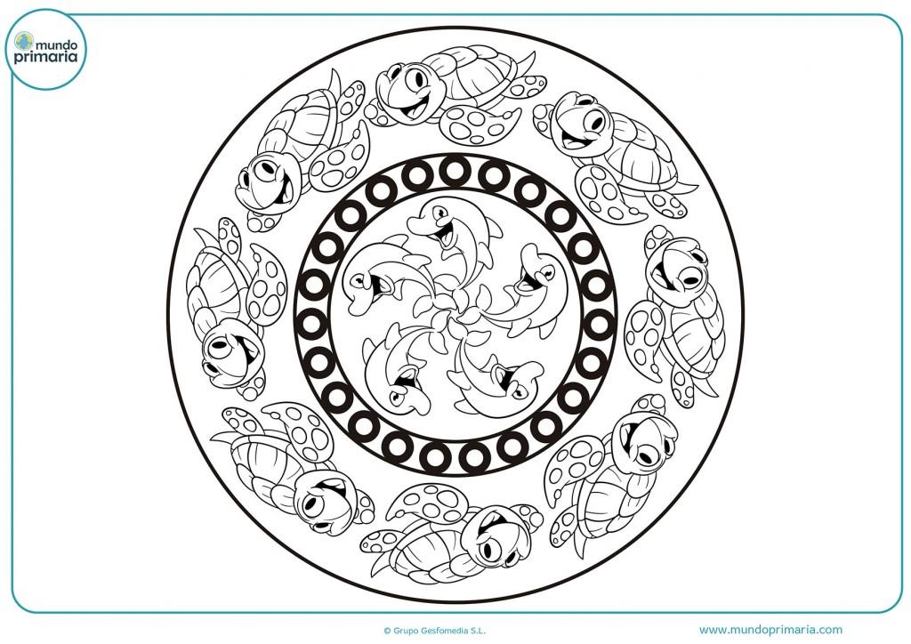 Descarga el dibujo de la mandala de delfines y coloréalo