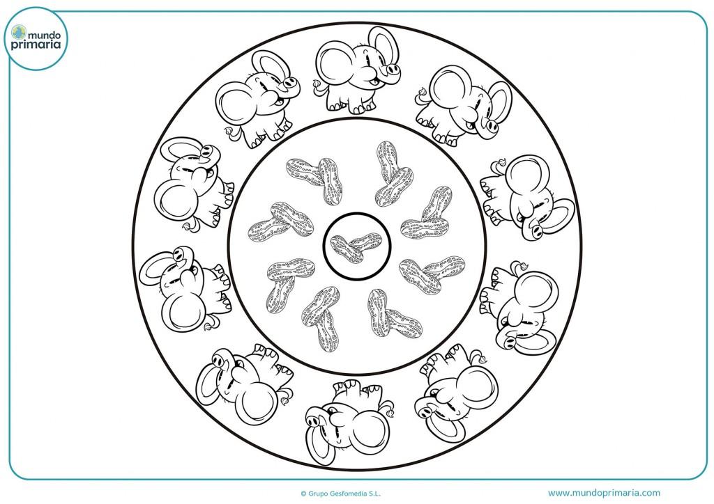 Mandala de elefantes para descargar y colorear