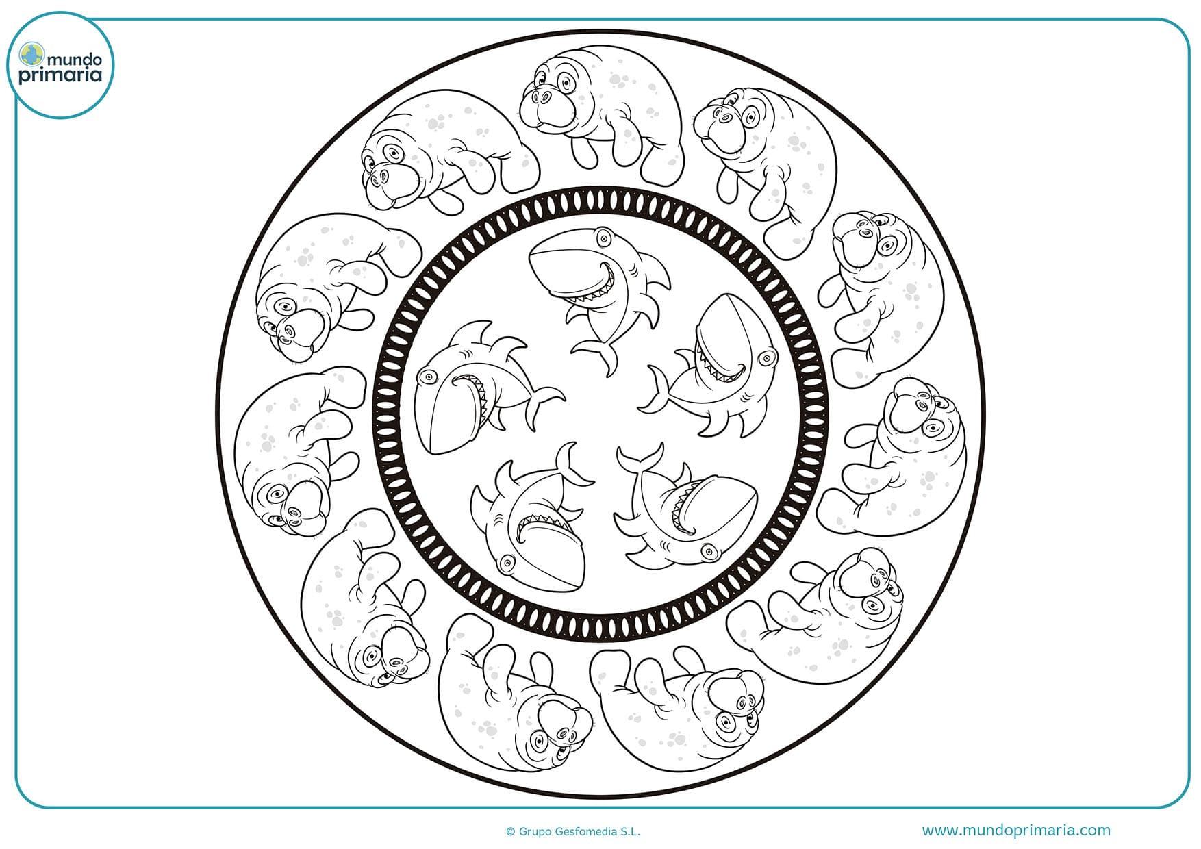 Dibujos colorear mandalas animales primaria