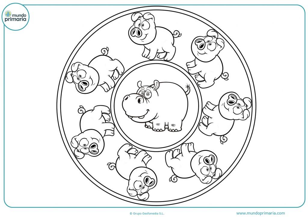 Mandala de hipopótamos para pintar con colores
