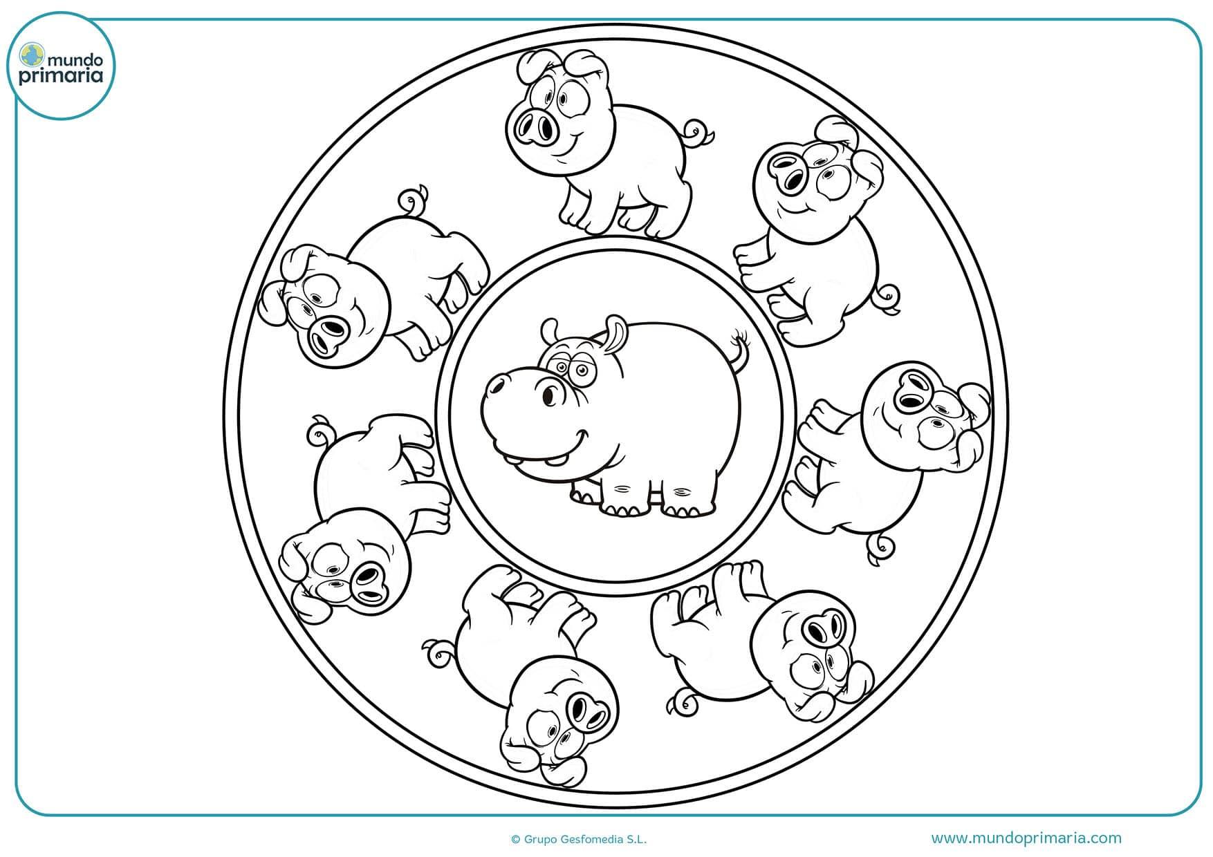 Colorear dibujos mandalas animales gratis