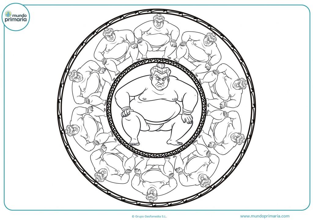 Imagen de una mandala de grandes sumos para pintar